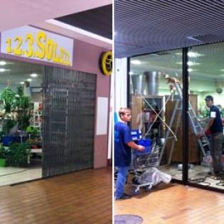 Avant/après : Création d'une vitrine de commerce, Centre Commercial Casino Les Caillols Marseille