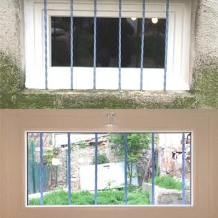 Fenêtre et grille fixe, vues de l'extérieur et de l'intérieur