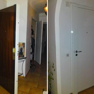 Porte blindée enveloppée avec serrure Bricard, peintures Epoxy blanc et stratifié faux bois pour adaptation à la copropriété